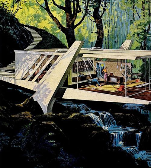 "Motorola Ads ""House of the Future"" by Charles Scridde, early 1960s, No. 9:"