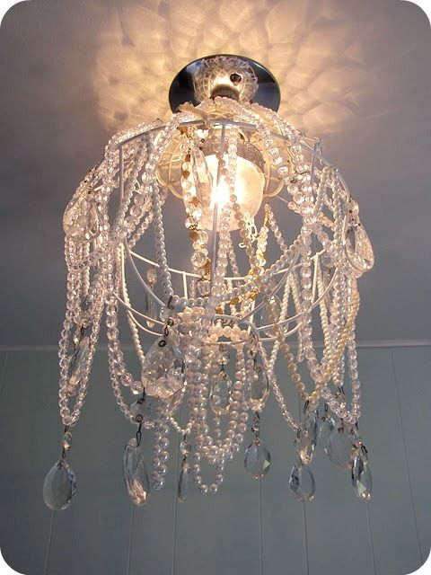 Diy Chandelier Made Using A Hanging Basket Vintage Necklaces Pearls Glass Beads And Teardrops Very Pretty Pinterest