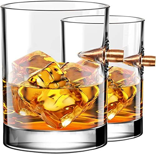 New Kollea 308 Bullet Hand Blown Whiskey Glass Set Of 2 Whiskey