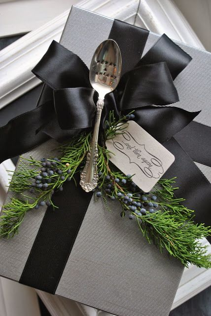 add vintage flatware as an embellishment for holiday gifts: