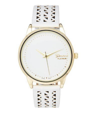 Another great find on #zulily! White & Gold Cutout Strap Watch #zulilyfinds