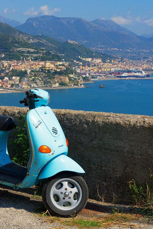 Amalfi Vespa Amalfi Coast Italy Baby Blue by TheWorldExplored