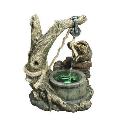 Hi-Line Gift Ltd. Fiber and Resin Bucket Pouring into well Fountain