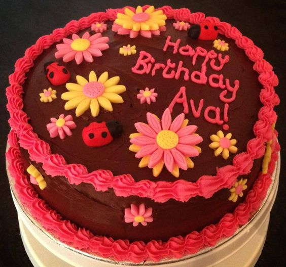 Chocolate fudge birthday cake with fondant lady birds and flowers