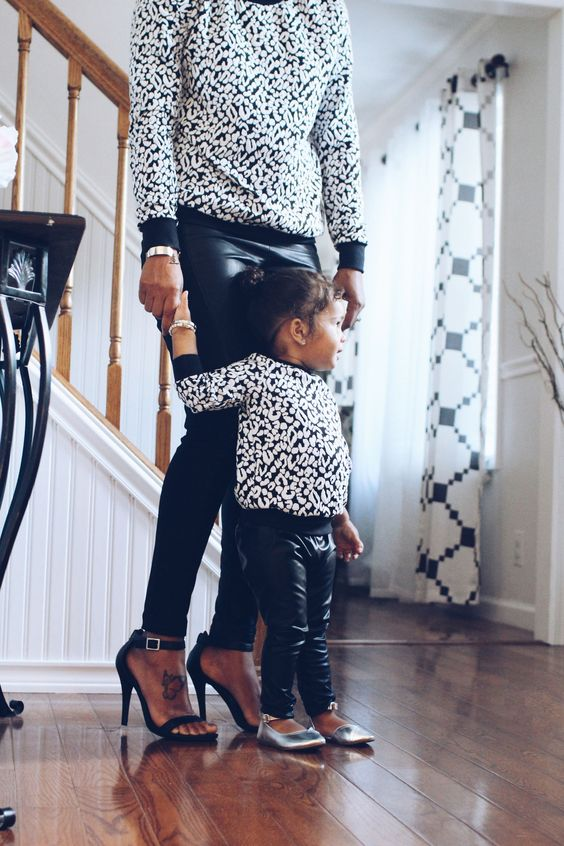 A unique animal print sweater set for a fall outfit, a white color cheetah print with delicate touches of black spots makes this adorable set an easy to match mommy and baby matching top. The sleeves: