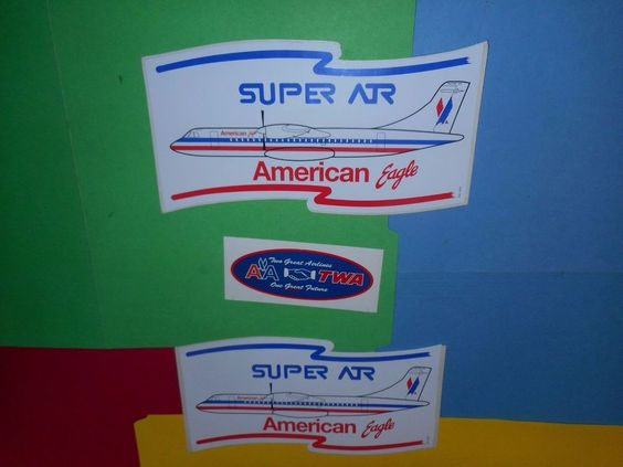 AMERICAN EAGLE AIRLINES SUPER ATR AIRPLANE BUMPER STICKER BAG LUGGAGE LABEL LOT