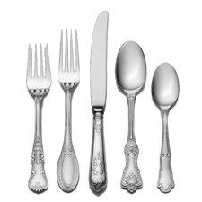 """Wallace """"Hotel"""" 20 Piece Flatware Set from Wayfair is so chic. This heavy, top quality flatware set is a very unique mixed pattern set. The patterns are all very traditional but because they are mixed and matched so they have a fun, funky vintage look! I personally own this flatware and it is the coolest and prettiest I have ever had. I get compliments from everyone! $40 per set."""