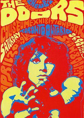 The Doors vintage repro concert poster USA | eBay  --Pretty wild color scheme!