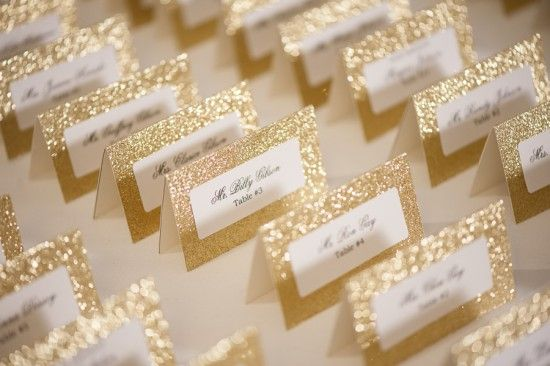 Military Wedding in Virginia Evelyn Alas Photography Sparkly Gold Escort Cards