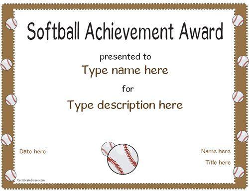 Softball Award Certificates Templates Coaching Forms - mandegarinfo