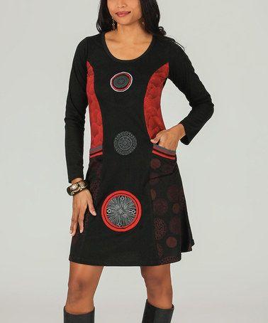 Look what I found on #zulily! Black & Red Medallion Pocket Scoop Neck Dress #zulilyfinds