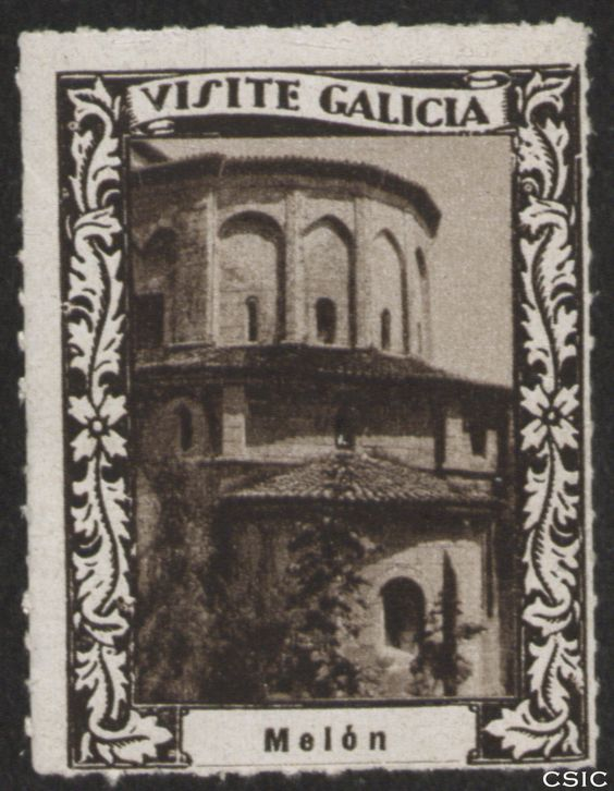 Melón (Ourense) : [Viñeta con imagen exterior con ábsides semicirculares de la capilla del Monasterio de Santa María de Melón] / [fotógrafo, Luis Casado Fernández]. http://aleph.csic.es/F?func=find-c&ccl_term=SYS%3D001528717&local_base=MAD01