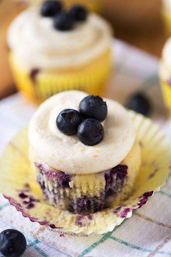 Lemon Blueberry Cupcakes   http://www.tablefortwoblog.com