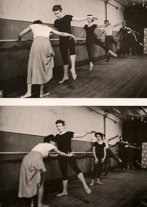 """Eartha Kitt teaching James Dean how to dance, early 1950s    Photo by Dennis Stock.    """"He was like my brother. He had something in him that he didn't understand. He wanted to learn from me how to move on the stage the way I do, so I taught him how to control his body and how to let the words physically carry you from this point to that point. I was in a play and he'd just done his first film so we were both becoming known at that time. It was a good time.""""  -Eartha Kitt"""