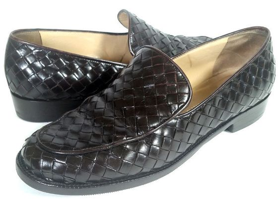 BOTTEGA VENETA Shoes 7.5 Intrecciato Brown Leather Loafers *LOVELY* Size 7.5 M…