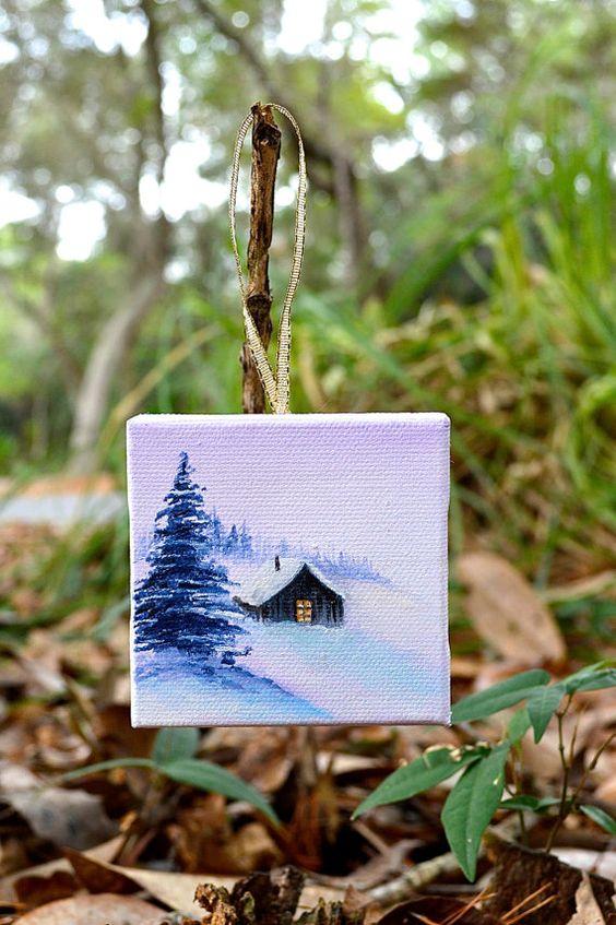 christmas ornament. 3x3 original oil painting. rustic by EllaBeyer, $25.00
