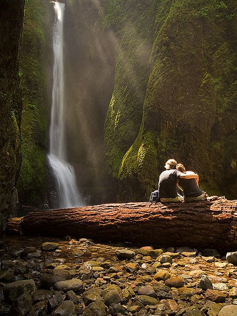 Enjoying the view at Lower Falls in Oneonta Gorge, Oregon