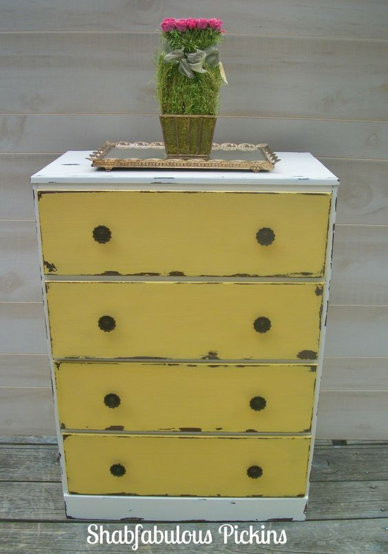Petite Shabby Farmhouse Dresser ~ Love how this turned out ~ Painted to look aged ~ I had some of my paint left & thought it would be the perfect color for this and it is ! The color is a deeper mustard yellow that can go with so many  color schemes... I replaced the wood hardware with some Vintage Flower pulls in Original condition... Waxed...Pine wood with pressed board back and drawer liners.... Sure to compliment your home & decor.. 23'' wide 33'' tall & 13'' deep 65.