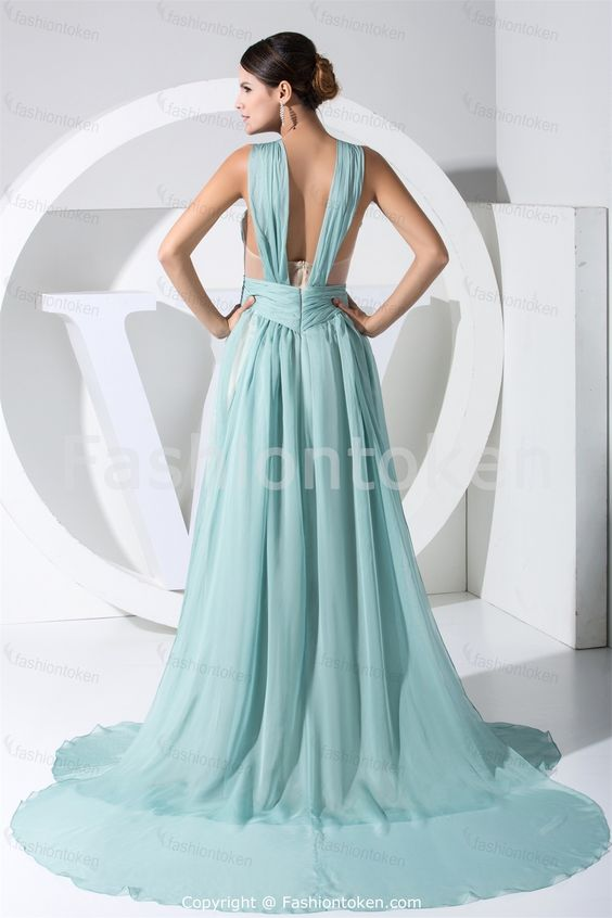 Shoulder Straps Blue Chiffon A-Line Court Train Special Occasion Dress Wholesale Price: US$ 149.99
