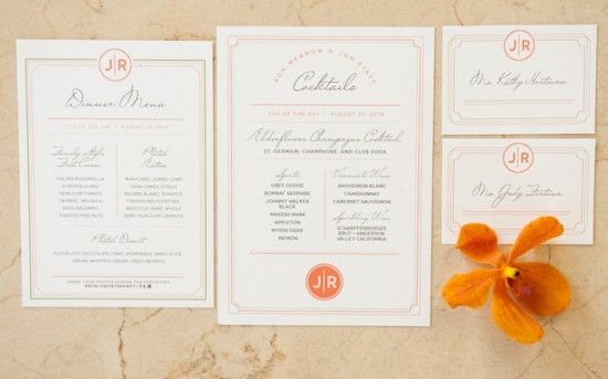 Rehearsal Dinner Menu and Escort Cards | Decatur House DC Wedding Rehearsal | Connor Studios