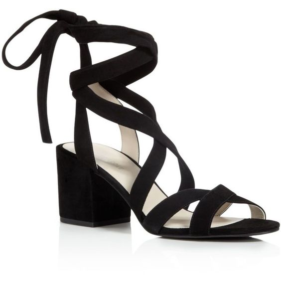Kenneth Cole Victoria Strappy Lace Up Mid Heel Sandals (€125) ❤ liked on Polyvore featuring shoes, sandals, heels, black, block heel sandals, black strappy sandals, suede lace up sandals, strap sandals and black strap sandals