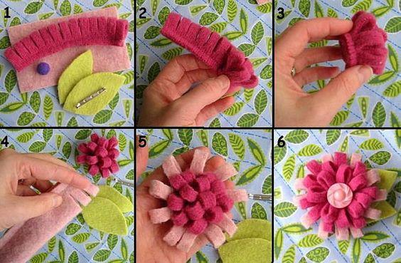 como hacer flores, con elementos reciclados para decorar nuestra ropa o complementos.
