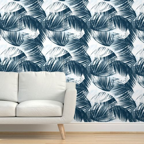 Colorful Fabrics Digitally Printed By Spoonflower Blue Palm Palm Leaf Wallpaper Wallpaper Quick Decor