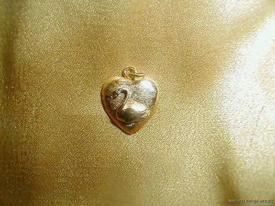 Vintage Heavy Gold Plated Signed Puffy Heart Charm Pendant Swan Repousse NR