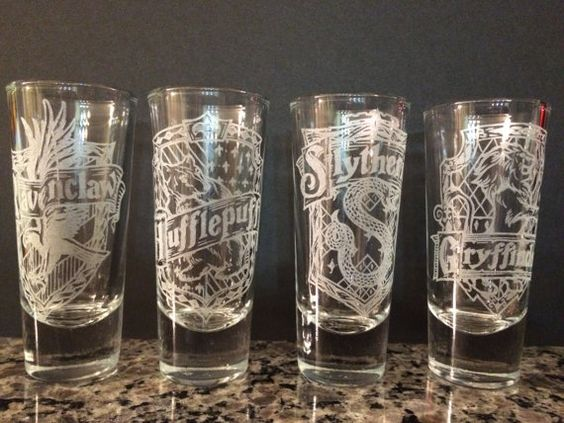 Harry Potter House Crest Shot Glasses Tall Set Of 4