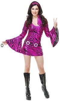 Fuchsia Zebra Diva Disco Costume - Sexy Costumes