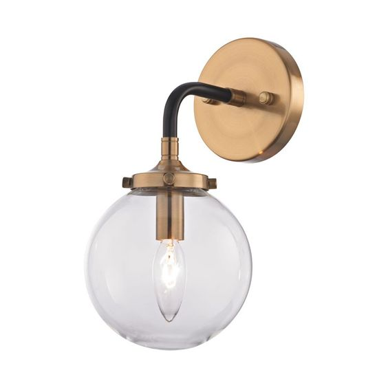 Metal Sphere Sconce, Gold