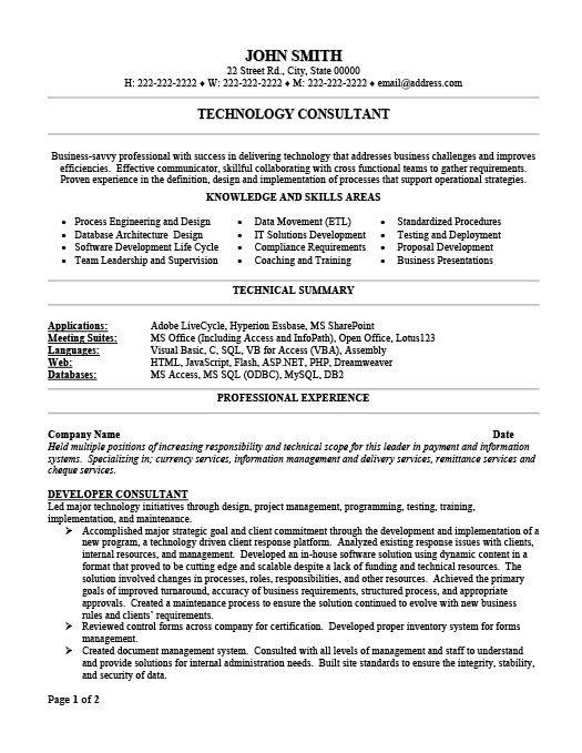 Technology Consultant Resume Template Premium Resume Samples Example Resume Writing Tips Resume Resume Writing