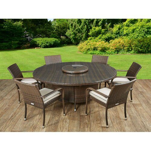 Kiska 6 Seater Dining Set With Cushions Sol 72 Outdoor Colour Chocolate Cream In 2020 Rattan Garden Chairs Round Outdoor Table Large Round Dining Table