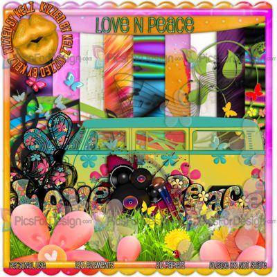 Love N Peace - Illustration store PicsForDesign.com. PSP tubes, PSD illustrations, Vector illustrations.