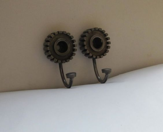 Motorcycle Gear Wall Hooks Set of Two by TabDesign on Etsy, $75.00