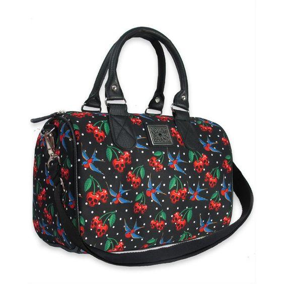Skulls Cherries Handbag #halloween #skulls #scary #terror #handbags #cherries