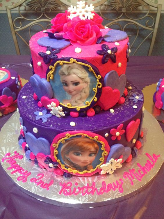girls Pink and Purple Frozen Anna and Elsa two tier Birthday Cake ...