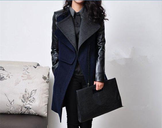 Women Blue and Black Wool coat Cashmere coat winter coat leather