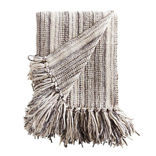 Chenille Streamers Gray Striped Throw
