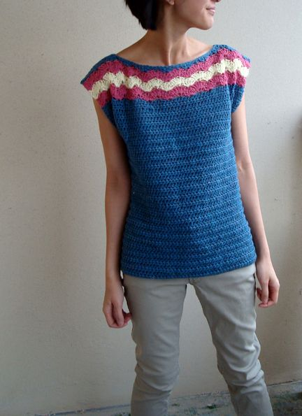 Free Crochet Patterns For Sleeveless Tops : Patterns, Crochet and Crochet pullover pattern on Pinterest