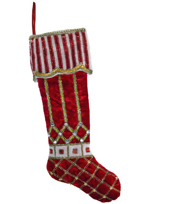 """Katherine's Collection Noel Christmas Collection Set Two 22"""" Noel Peppermint Cuff Embellished Christmas Stockings Free Ship"""