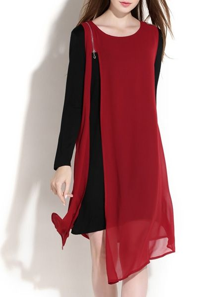 Col rond Avec Zip coloris Assortis Maj-robe