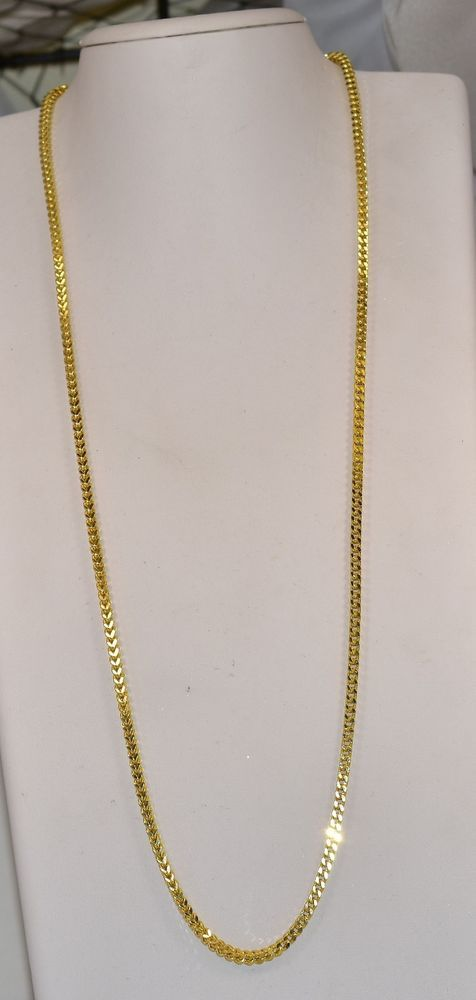 10 K Yellow Gold 3 25 Mm Square Wheat Foxtail Chain 30 Inches 22 Grams Chain Gold Chains For Men Chain Gold
