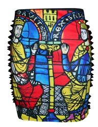 Holy Spikes! #studs #skirts #church #stainedglass #fashion #style #primarycolors #spikes #studdedskirt #studded