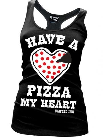 """Women's """"Have a Pizza My Heart"""" Tank by Cartel Ink (Black)"""