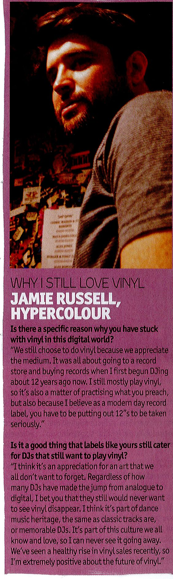 DJ Mag   Article   Jamie Russell  Hypercolour