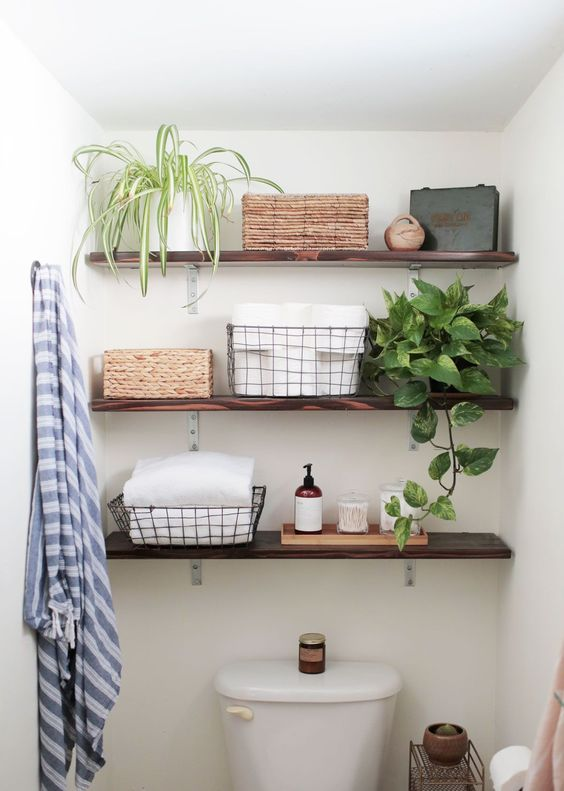 shelves with baskets and plants above toilet in bathroom: