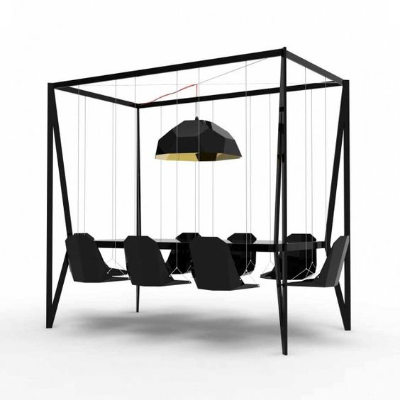 Swing Table: Dining Room, Conference Room, Dining Table, Diningroom, Swinging Chair