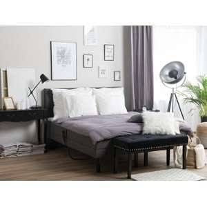 Beliani Fabric Eu Super King Size Adjustable Bed Grey Earl Adjustable Beds Grey Bedding Beliani