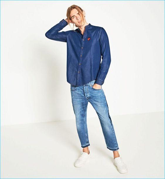 Ton Heukels models denim fashions from Zara Man's Indigo Spirit collection.
